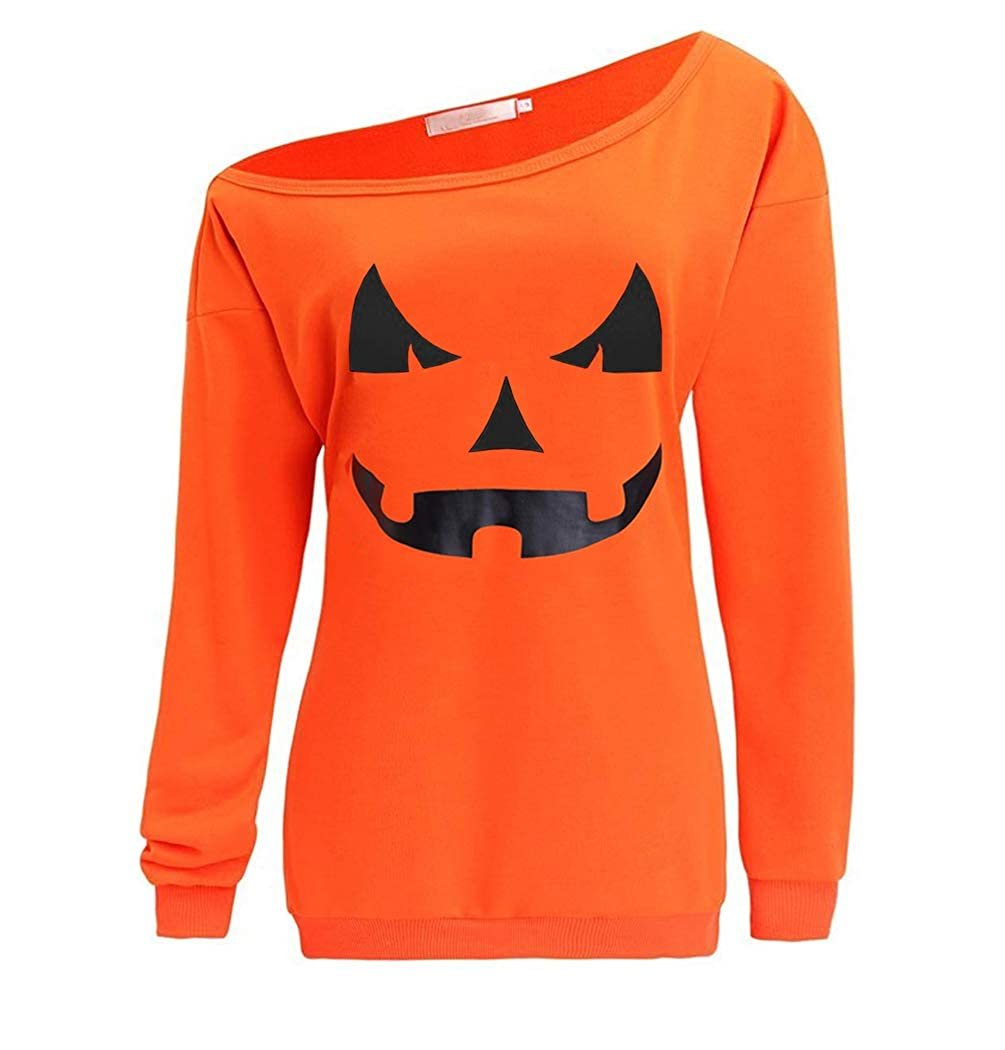 LYXIOF Women Halloween Pumpkin Sweatshirts Off Shoulder Sweatshirt Slouchy Shirts