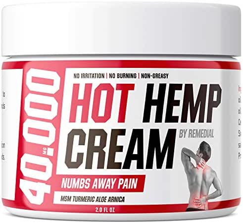 Hot Hemp Cream - 40000 MG - Lower Back Pain, Arthritis, Carpal Tunnel, Inflammation, Foot, Nerve, Joint, Muscle, Neck Pain, Natural Stress Relief - MSM, Turmeric, Aloe, Arnica