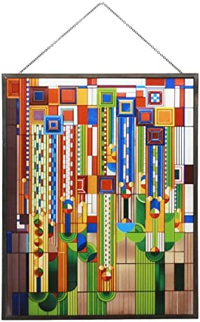 Meyda Tiffany 65267 Jack O Lantern Lighted Decorative Mini Tabletop Window, 9.5 Width x 10.5 Height