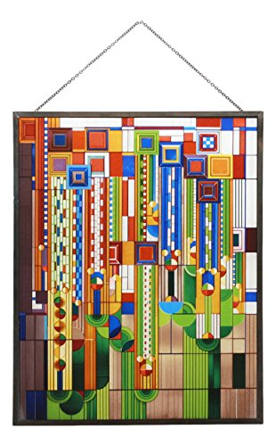 Ebros Frank Lloyd Wright Metal Framed Saguaro Cactus Flowers Stained Glass Art Decor Wall Decor