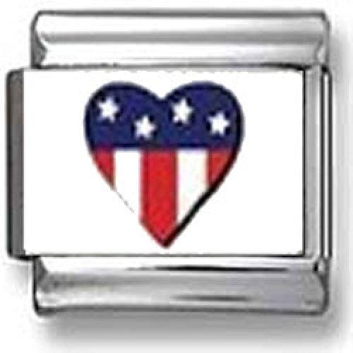 Flag Heart Italian Charm - American Flag Heart Italian charm