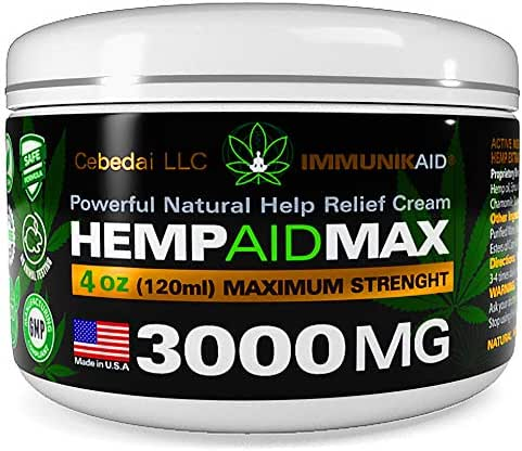 Premium 3000Mg Hemp Cream for Pain Relief - Pure Hemp Oil Extract - Natural Anti- Inflammatory Lotion for Joint & Muscle Pain - Extra Strength Topical Salve for Healthy Skin - 4oz Balm
