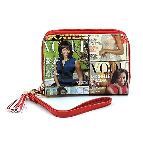 Glossy magazine cover collage crossbody bag purses clutches and wallets Michelle Obama bags (Wallet 13)
