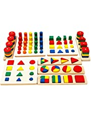 """TOWO Wooden Geometric Shapes Stacking Rings and Fractions Boards 8 Sets in One """" Wooden Shape Sorter Toy and Wooden Stacking Game """" Stacking and Sorting Educational Toys for Montessori Learning"""