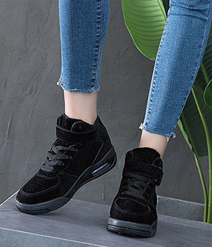 Aisun Talon Baskets Femme Confortable Noir Scratch Plat rtCrFqw