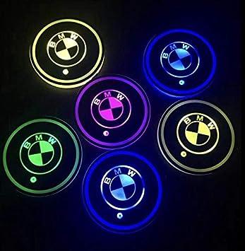 GUANGGU LED Car Logo Cup Holder Pad 7 Colors Changing USB Charging Mat LED Cup Mat Car Atmosphere Lamp Decoration Lights 2PCS for Benz