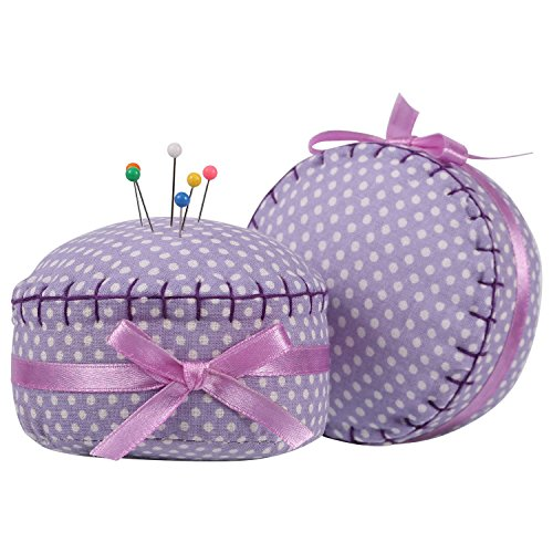 NEOVIVA Stylish Pincushions for Sewing and Quilting with High Decoration during Craftworks, Pack of 2, Style Cupcake, Polka Dots Orchid Bloom
