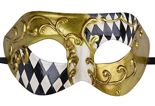 [Masquerade Mask Roman Greek Men Vintage Musical Checked Party Mardi Gras Mask] (Venetian Carnival Masks)