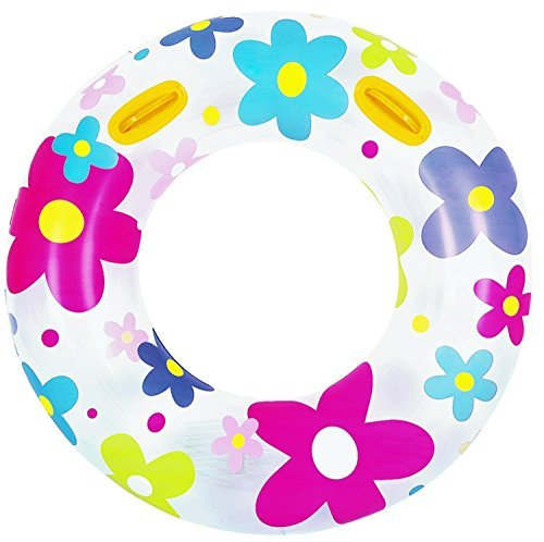 42 Fashion Flower Print Inflatable Swimming Pool Inner Tube Ring Float with Handles by Pool Central