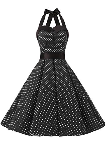 Dressystar Vintage Polka Dot Retro Cocktail Prom Dresses 50's 60's Rockabilly Bandage Black S