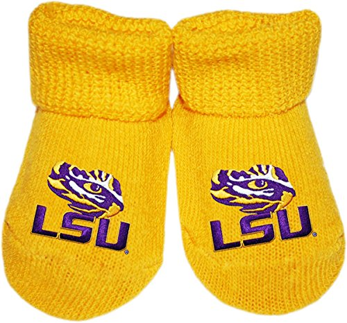 LSU Tiger Eye Newborn Baby Bootie Sock