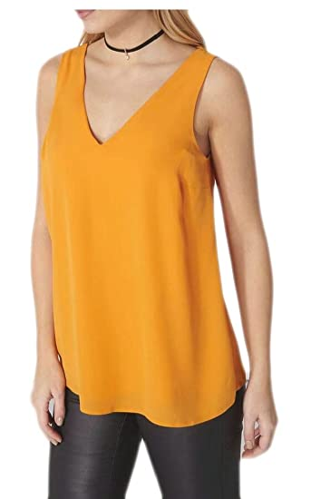 a4169380ae92a4 ainr Women s Double Strap Layered Chiffon Blouse Sleeveless Tank Tops at  Amazon Women s Clothing store