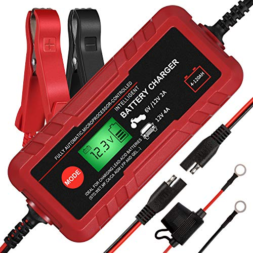 Adakiit 6/12V 4A Smart Battery Charger/Maintainer Fully Automatic 8-Stages Trickle Charger for Automotive Car Motorcycle Lawn Mower Marine Boat RV ATV Sealed Lead Acid Battery
