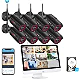 [All-in-One] 1080P Wireless Security Camera System with 15.6 Inch Monitor,ANRAN 8pcs 2MP Outdoor Home Surveillance Video WiFi Security Camera!