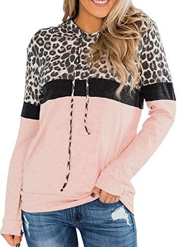 Lovezesent Womens Color Block Stripe Drawstring Pullover Hoodie Sweatshirts Tops