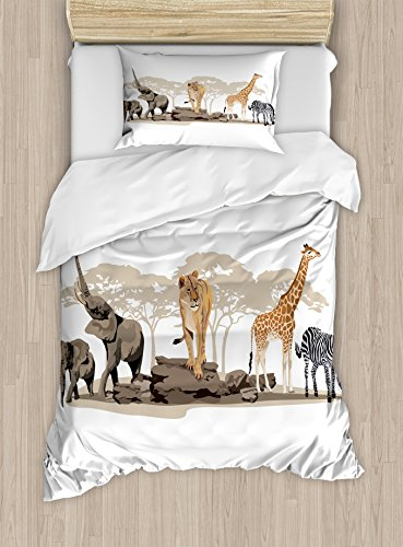 Safari Duvet Cover Set Twin Size by Ambesonne, Illustration of Wild Savannahs African Animals Exotic Giraffe Lion Elephant Zebra, Decorative 2 Piece Bedding Set with 1 Pillow Sham, Multicolor