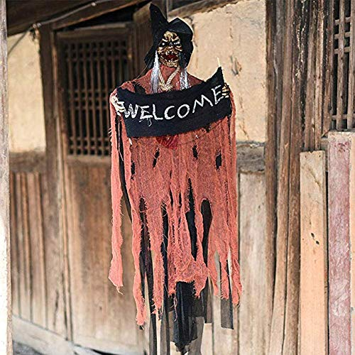 Halloween Decorations Hanging Ghost Grim Reaper Prop Skeleton, (LED Flashing Eyes, Scary Sound) Animated Halloween Home Décor Costume Skull for Halloween Party Outdoor Indoor Yard Bar Haunted House (43.3''*17.7'') -
