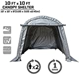 kdgarden Heavy Duty Canopy Storage Shelter 10' x 10' Portable Enclosed Garage Tent for Small Vehicles, Garden Tools and Patio Furniture, with 4 U-Type Ground Stakes for Stability, Round Top Style