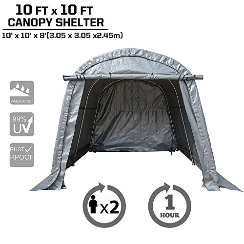 kdgarden Heavy Duty Canopy Storage Shelter 10' x 10' Portable Enclosed Garage Tent for Small Vehicles, Garden Tools and Patio Furniture, With 4 U-Type Ground Stakes for Stability, Round Top (Round Top Shelter)