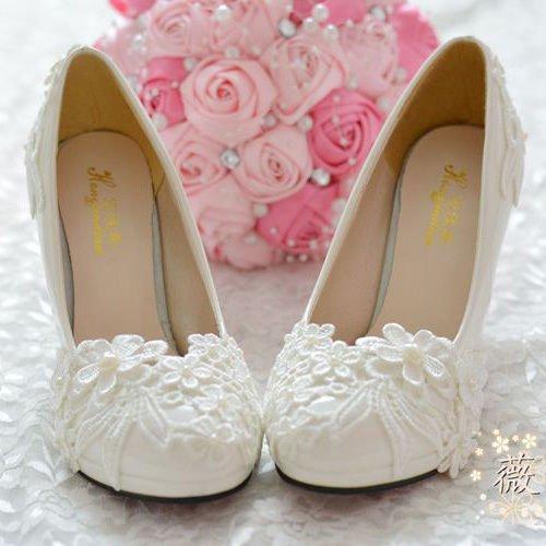 de la perla boda cordón talón alto la del de plana blanco JINGXINSTORE del la flor del Plataforma de Zapato blanco nupcial zxIqwXO