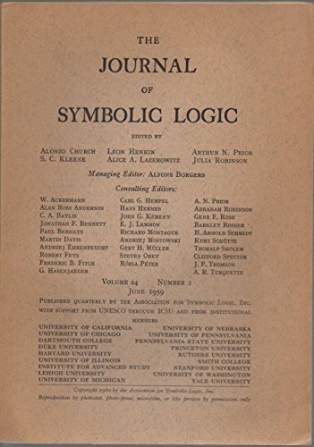 The Journal of Symbolic Logic, vol. 24, no. 2 (June 1959)
