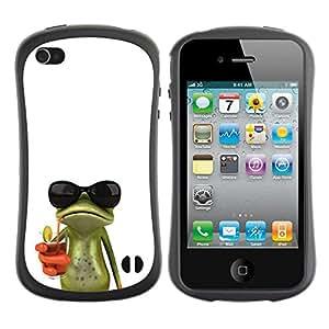 Suave TPU GEL Carcasa Funda Silicona Blando Estuche Caso de protección (para) Apple Iphone 4 / 4S / CECELL Phone case / / Sun Shades Sunglasses Frog White Drink /