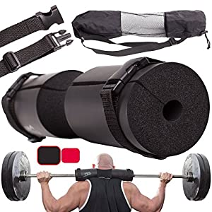 ⚠️BIack FRlDAY DEAL: Barbell Squat Pad for Lunges, Hip Thruster Pad, Squats + 2 Safe Straps – Barbell Pad Weight Lifting Cushion Neck & Shoulder Support for Standard and Olympic Squat Bar