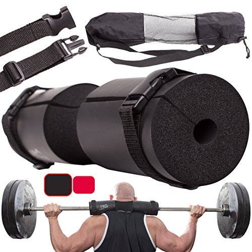 Barbell Squat Pad for Lunges, Hip Thrusts, Squats + 2 Safe Straps – Barbell Pad Weight Lifting Cushion Neck & Shoulder Support for Standard and Olympic Squat Bar