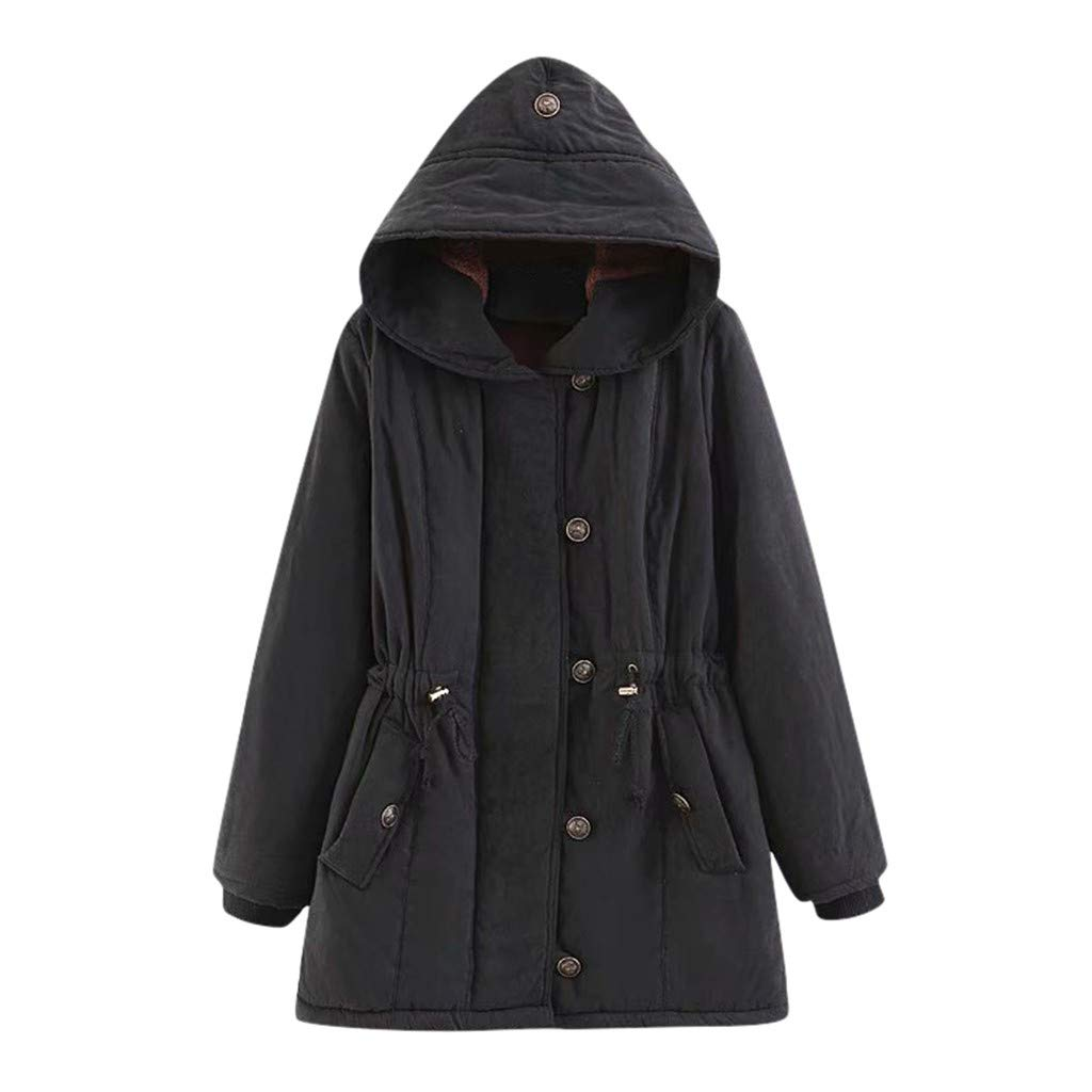 perfectCOCO Winter Warm Jacket Women Long Sleeve Waist Hooded Jacket Solid Pockets Overcoat Coat Outercoat Black by perfectCOCO
