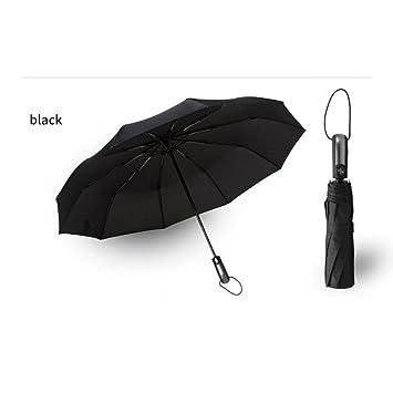 WJCXG 10 Hueso Paraguas AutomáTico Paraguas Hombres Y Mujeres Plegables Paraguas De Lluvia AutomáTica , black