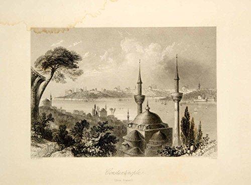 1876 Steel Engraving Antique Constantinople Bosphorus Istanbul Turkey City TWW1 - Original Steel Engraving