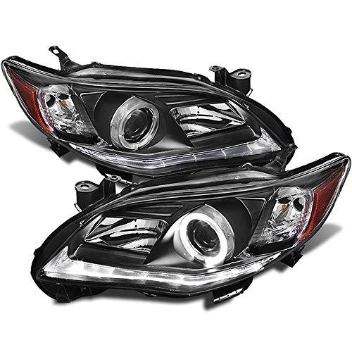 ACANII - For 2011-2013 Toyota Corolla LED Tube Halo Black Housing Projector Headlights Headlamps, Driver & -