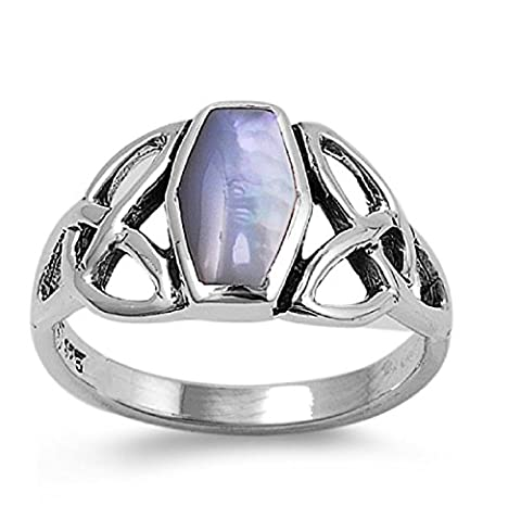 925 Sterling Silver Wicca Triquetra Coffin Shaped Simulated Mother of Pearl Ring 11MM Size 5 (Sterling Silver Coffin Ring)
