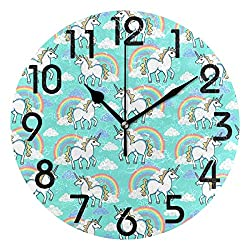 Dozili Stylish Cartoon Unicorn with Rainbow and Clouds Pattern Round Wall Clock Arabic Numerals Design Non Ticking Wall Clock Large for Bedrooms,Living Room,Bathroom