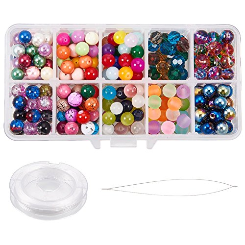 PH PandaHall 1 Box (about 300pcs) 8mm 10 Type Crackle Lampwork Glass Round Beads Cat Eye Beads Spray Painted Transparent Beads with Elastic Wire Beading Needle for Jewelry Making
