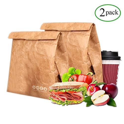 [해외]Tyvek 런치 백 2팩 친환경 방수 재사용 가능 런치 박스 타이벡 샘 방지 단열 갈색 종이 간식 가방 직장학교피크닉용 (6L) / LINXIN Tyvek Lunch Bag pack of 2, Eco Waterproof Reusable Lunch Box,Tyvek Leakproof Insulated Brown Paper Bags with...
