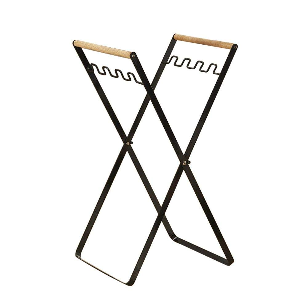 Nordic Folding Iron Garbage Rack - Kitchen Living Room Hangers Multi- Functional Storage Holder with Hooks - White/Black to Choose