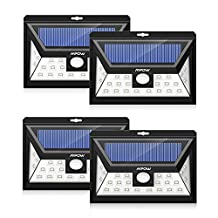 Solar Lighting, Mpow Solar Power Lights [ 24 LED 120 Wide Angle 3 Modes] Wireless Waterproof Motion Sensor Security Night Lighting for Patio Deck Yard Garden Driveway Outside Wall-4 PCS