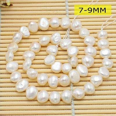 FidgetFidget 6-7,7-8,9-10MM Natural White Freshwater Pearl Freeform Beads 14inch 7-8mm 1strand