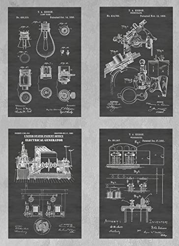 Thomas Edison Inventions Wall Decor Collection: Set of Four Patent Print Art Posters: Choose From Multiple Size and Background Color Options (Thomas Edison Best Invention)