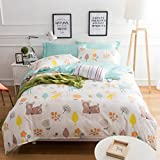 Chesterch Prevoster Kids Duvet Cover Set 100% Cotton Sateen Bedding Sika Deer Pattern Boys Girls,3 Pieces Comforter Cover and 2 Pillowcases,Full Queen Size