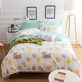 belles maison kids duvet cover set 100 cotton sateen sika deer pattern children bedding