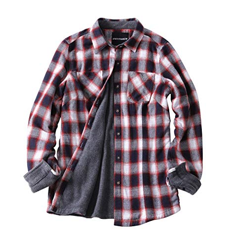 (Zenthace Women's Thermal Fleece Lined Plaid Button Down Flannel Shirt Jacket Wine/White L)
