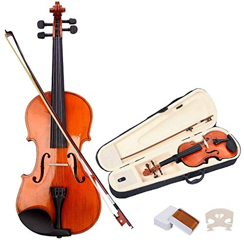 Goplus 4/4 Full Size Acoustic Violin Durable Natural Solid Wood Fiddle for Beginners and Students w/Case, Bow and Rosin (Burlywood)