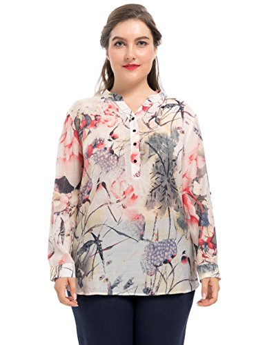 Chicwe Womens Plus Size Ink Wash Painting Rolled Long Sleeves Printed Blouse - Casual and Work Top