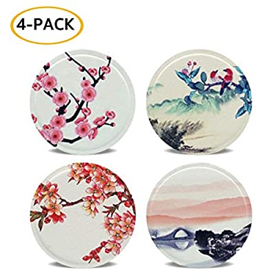 4-Pack Replacement Mount Metal Plates Faux Leather Vintage Printed D.Sking Car Phone Holder 3M Adhesive Metal Plates for Car Mount Car Kits (Landscape)
