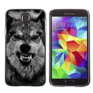 Impact Case Cover with Art Pattern Designs FOR Samsung Galaxy S5 Wolf Ferocious Muzzle Teeth Roar Black Betty shop