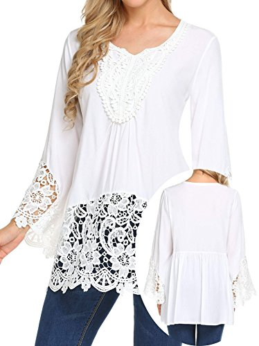 Teewanna Women's Casual Boho Lace Spliced O-Neck Eyelet Long Sleeves Shirt Blouse Top White XXL