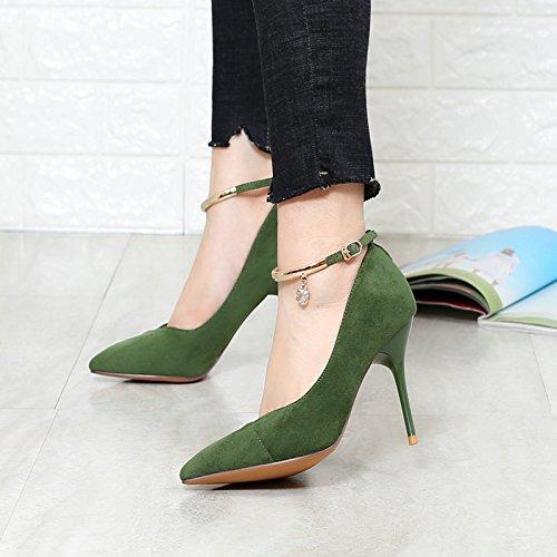 Verde Botonestreinta Zapatos En nueva Tacones Otoño Con Gamuza Y Khskx Taco De Superficial Altos Sieteverde Confort Alto B4nH0