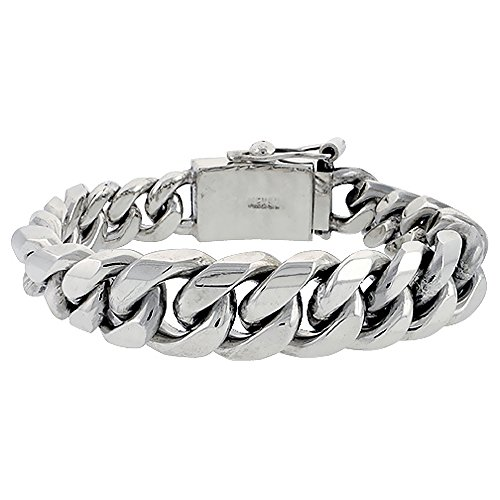 Graduated Link Curb (Sterling Silver Graduated Cuban Curb Link Bracelet 5/8 inch wide, 8 1/2 inch (21.6 cm) long)